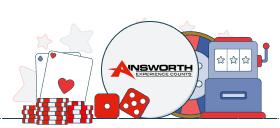 ainsworth logo with casino games symbols