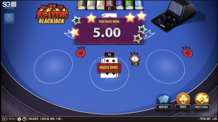 blackjack blazing 7s screenshot