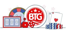big time gaming logo with casino games symbols