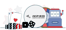 inspired gaming logo with casino games symbols