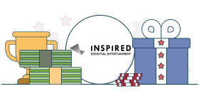 inspired gaming logo with money and gift box graphics