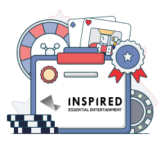 inspired gaming logo with casino symbols