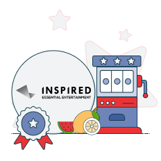 inspired gaming logo with slot machine graphics