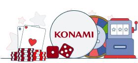konami logo with casino games symbols