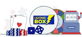 lightning box logo with casino games symbols