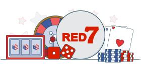 red7 logo with casino games symbols