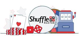 shuffle master logo with casino games symbols