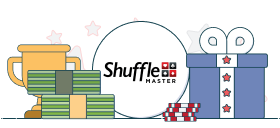 shuffle master logo with money and gift box graphics