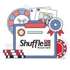 shuffle master logo with casino symbols