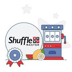 shuffle master logo with slot machine graphics